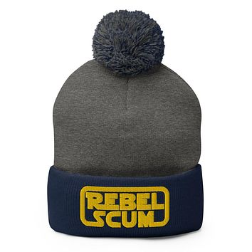 Rebel Scum 3D Embroidered Pom-Pom Beanie