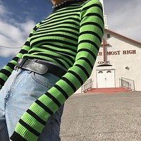 Women Casual Fashion Multicolor Stripe Ultra Long Sleeve Tight Knitwear Tops