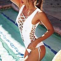 Hollow Crisscross One Piece Swimwear Bikini Swimsuit