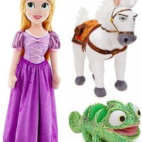 Disney Store Tangled Plush Doll Gift Set Including Rapunzel, Maximus and Pascal Stuffed Animal Toys