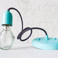 Modern Retro Lighting Textile Pendant Pastel Mint Blue