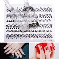 30PCS 3D Black and White Lace Design Nail Art Stickers Flower Manicure Nail Decals Tips