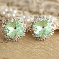 Clear Mint green sea foam Crystal stud Petite vintage earring bridesmaids earrings - Silver plated post earrings real swarovski rhinestones