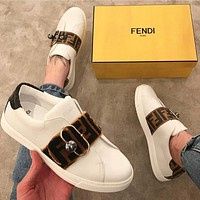 FENDI Leather sports shoes-2