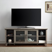 Traditional Gray Wash TV Stand with Glass Doors