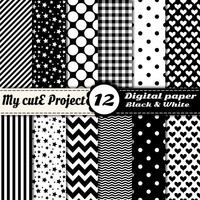 Digital paper pack - Black and White  - Instant Download - Scrapbooking & graphic design - 12x12 - A4 - Polka dots, heart, chevron, gingham