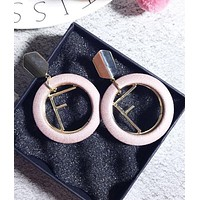 FENDI Trending Women Stylish  Earrings 925 Silver Needle Cortical Circular Metal Letters Earrings Stud Earrings Pink I12857-1