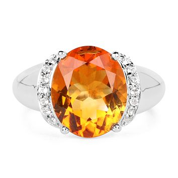 Natural 4CT Oval Cut Madeira Citrine Engagement Ring