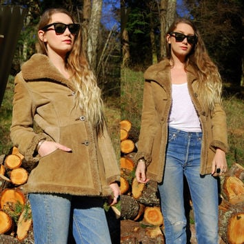 Vintage Suede Shearling Coat Light Brown / Tan Sheepskin Coat FRITTALA Fur Lined Lambskin Leather Jacket, Hippie Boho Chic, Sherpa XS Small