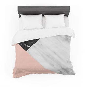 """Cafelab """"Marble Collage With Pale Pink """"  Gray Pink Featherweight Duvet Cover"""
