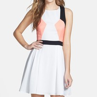 Junior Women's Cream and Sugar Colorblock Skater Dress