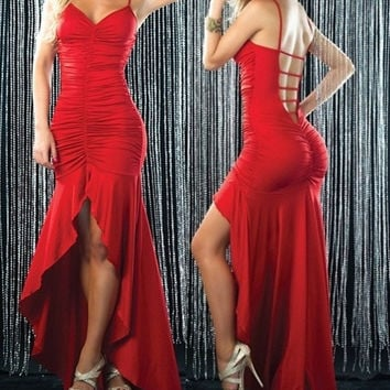Sexy Lucy Red Pucker Front Flared Long Gown Clubwear Prom Cocktail Full length Dress = 1913359876