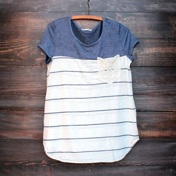 sweet lacy pocket color block striped navy tunic