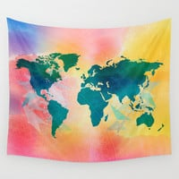 World Map tapestry, bohemian wall tapestry, watercolor map, wall hanging