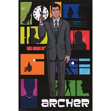 Archer Cartoon Cast Poster 24x36