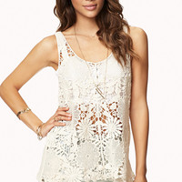 FOREVER 21 Crocheted Floral Top