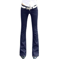 Womens Blue Denim Stretch Flare Jeans Low Waisted Long Bell Skinny Spandex Jean Trousers Woman Denim Pants For Slim Hip Women