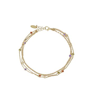18K Yellow Gold or Rhodium Over the Rainbow Multi-Chain Crystal Anklet