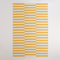 Yellow and White Striped Dhurrie Area Rug