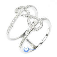 "Infinity ""8"" Ring Double Fashion Ring Pave Signity CZ Rhodium over Sterling Silver"