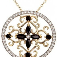 Yellow Gold-Plated Sterling Silver Sapphire Circle Pendant, 18""