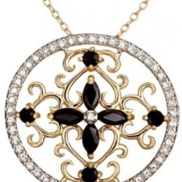 """Yellow Gold-Plated Sterling Silver Sapphire Circle Pendant, 18"""""""