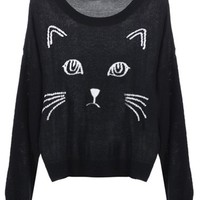 Black Embroidered Cat Round Neck Loose Sweater (M, Black)