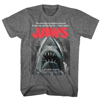 Jaws T-Shirt Terrifying Motion Picture Movie Poster Graphite Heather Tee