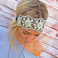 Embroidered Lace Gold and Black Stretchy Headband WEdding Hair Band