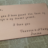 Copper Love note, Personalized wallet insert, 7th anniversary gift