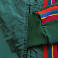 Vintage 1980s Sport Jacket Forest Green Stripe Zip Front Nylon Track Sport Jacket Large