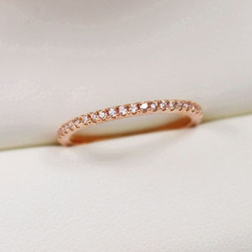 Skinny Ring,Eternity Ring, Rose Gold Filled Ring,Promise Ring,Gemstone Rings,Stackable Ring,Cubic Zirconia Ring