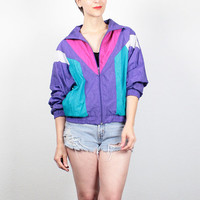 Vintage 1980s Windbreaker Jacket Purple Pink Teal Sporty Color Block Wind Breaker New Wave 80s Bomber Jacket Athletic Track Jacket S Small