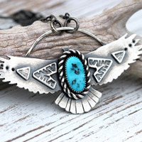 Bird Necklace Eagle Necklace Thunderbird Necklace Turquoise Necklace Sterling Silver Necklace Southwestern Jewelry Hand Stamped Necklace