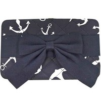 Anchor Print w/ Bow Quilted Flat Wallet Clutch Purse Nautical Black