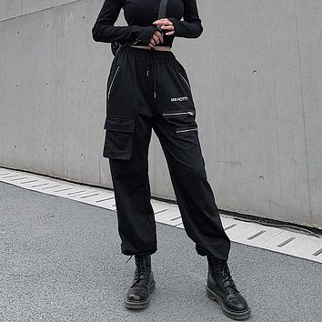 Women Casual Fashion Zip High Waist Leisure Pants Trousers Solid Color Cargo Pants