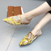 Moomphya Retro Embroider Women Flats Sandals Female Summer Style Slippers Lady Sandals Vintage Sandals Shoes Women