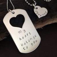 Personalized jewelry, hand stamped necklace, custom military tag, heart necklace, love jewelry, dog tags