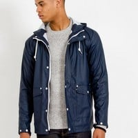The Idle Man Hooded Mac Navy - 20% OFF Layering - Inspiration | The Idle Man