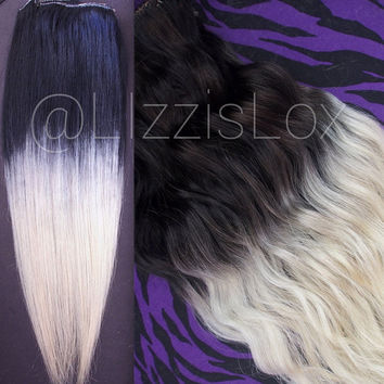 "Gorgeous Clip In REMY Human Hair Extensions 20"" Black to Blonde Ombre Dip Dye Balayage 100-180g DIY Satisfaction Guarantee!"