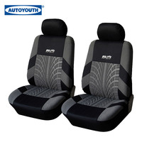 AutoYouth 4-Piece Car Vehicle Protective Seat Covers Universal Fit Black/Gray Tire Track Detail