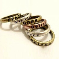 Retro Style 5 PCS Carved Letters Alloy Finger Rings For Women