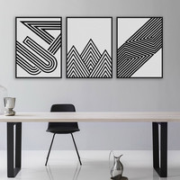 Black White Modern Minimalist Geometric Shape A4 Art Prints Poster Abstract Wall Picture Canvas Painting Living Room Home Decor