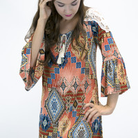 Karaoke Late Summer Bell Sleeve Dress
