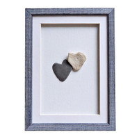 Personalized wedding or engagement gift, Unique wedding gift, Love gift for her, Genuine heart shaped stones, Pebble art, Friendship gifts
