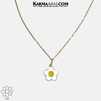 Necklace | MY TIME TO BLOOM | Enamel White Daisy | Stainless Steel Chain