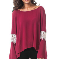 Crochet Bell Sleeve Loose Fit Top