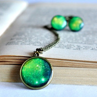 Green Galaxy Set Necklace And Stud Earrings, Resin And Polymer Clay Galaxy Jewelry