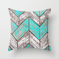 SHORELINE CHEVRONS (1 of 3) Throw Pillow by John Medbury (LAZY J Studios)