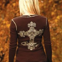 NEW Cowgirl Tuff Brown Thermal w Victory Cross & Studs F00046